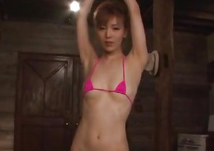 Toy porn stomach for obedient Japanese Saori