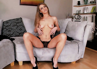 Delilah Blues pink pussy exposed in solo scene