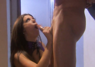 Roxy DeVille satisfies mans sexual needs plus then gets her pretty light cum covered