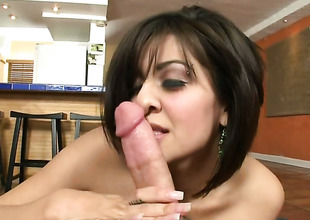 Brunette chachita Vanessa Leon with round booty is approachable to spend hours with dudes love stick in her mouth