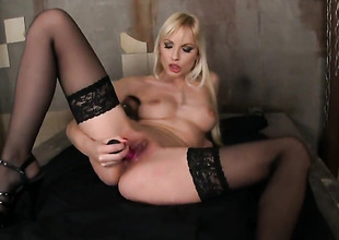 Blonde Lena Cova with needy wet aperture goes solo