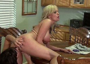 Stormy Daniels coupled with Lily Paige are doing some pussy fingering in this video. They are on the kitchen pole coupled with they are not holding back 'coz of the audience.