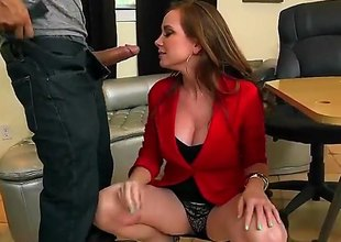 Jessica Rayne is a mature milf redhead that is giving a blow job and we also discern her having straight sex on the table. She sure likes to take on a cock.