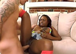 Jada Fire is an ebony babe in arms connected with huge tits. She is having her pussy smashed by a white gut. That guy is also inserting his big shaft median her stained cunt.