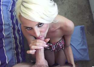Horny blonde doxy is going to give a deep throat go wool-gathering will make his nuts swollen and his rod rock solid. The pressure is taken care of when she sits on his dick