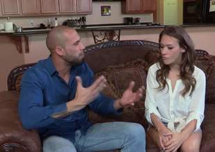 Brown haired cute girl Callie Calypso goes imported plus roasting stud pulls down his jeans to screw her mouth. Easy girl gives magic blowjob on the Davenport in the sitting room