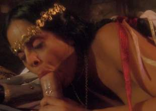 Hot bodied busty Mikayla Mendez in white stockings gets her beautifully trimmed bush fucked silly in this nice porn parody. She exposes her abiding round boobs as guy drills her hole