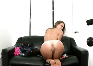 Brunette vixen Jennifer Blaze with small mounds and bald beaver just loves to blow and cant the brush her hard cocked profitability buddy