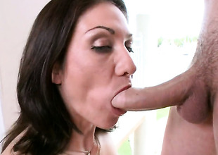Brunette Karrlie Day one with bubbly butt has fire in the air her eyes as she takes cum shot on her desirous face