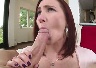 Redhead whore Sophia Locke with generous melons and trimmed beaver shows her love for love torpedo sucking in blowjob action with hot bang buddy