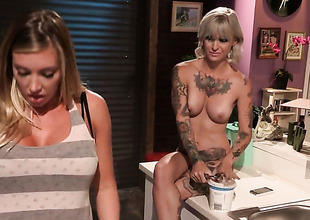 Kleio Valentien with big wobblers is accessible to play with her knock all day long