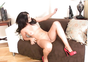 Incredibly femme fatale Megan Coxxx cant stop dildoing her wet spot