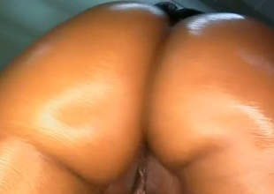 Loved ebony darling enjoys engulfing stud's  pecker