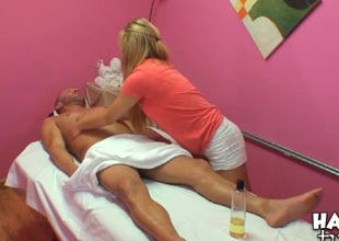 Agile honey performs relaxing, yet ugly massage for a dude