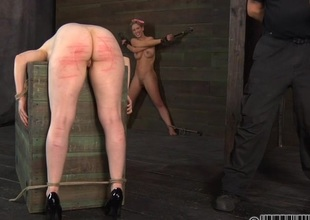 Caged beauty removes her nice-looking clothings in internment