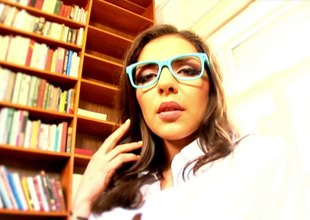 Sexy geek meets a dude in a library and fucks him vulnerable a couch