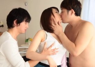 Two fellows tag team a hawt Asian girl and fuck her valuable and unending