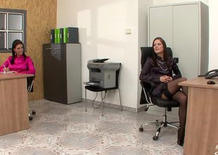 Two babes forwards office yon more with the tongue pussy and use dildos to cum