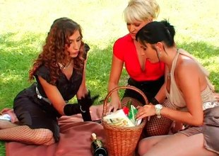 Girls fuck sausages and bananas outdoors in a lesbian trio