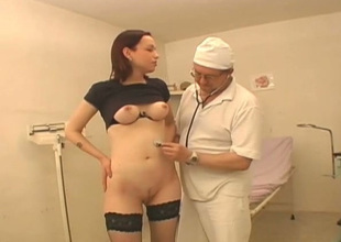 Kinky pollute examines hairless pussy be worthwhile for one young chick Vika wearing hawt stockings