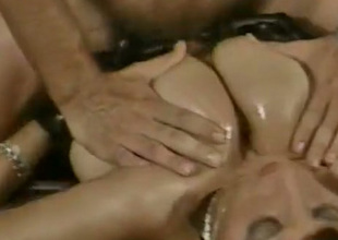 Enchanting temptress with massive juggs lets her lover boob fuck her