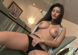 Damn hot busty blackness girlie enjoys fingering her sopping pussy on chair