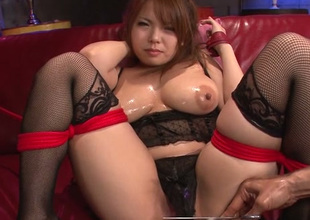 Impressively hot Japanese lady Kanna Itou wanna receive exalt tunnel fucked approximately toy