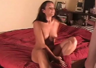 Sexy natural busty brunette GF blows her BF's cock preceding doggyfuck