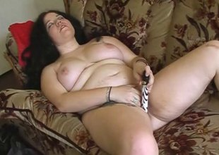 Zestful bbw masturbating with a dildo before obtaining slammed hardcore