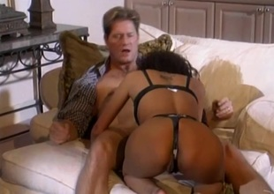 Pulsating cowgirl with regard to nylon stockings and a thong screaming as she gets hammered hardcore