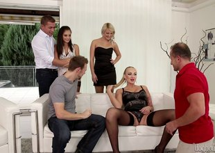 3 couples get together for a hot group sex party