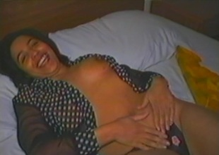 Astonishing obscurity maddened milf with natural tits masturbating with a vibrator close up