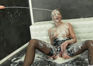Horny model rides on a lengthy schlong and gets cum all over from the very same tool