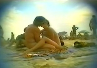 Voyeur sex video with a tasteless couple on get under one's beach be incumbent on Cap d'Agde