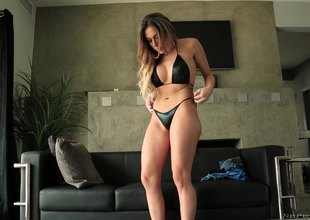 Hotie in a sexy bikini strokes the massive throbber pending hardcore fucking in a put to rights in shoot