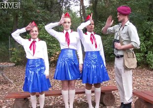 Adorable girl scouts take turns on a hard bushwa hither a jilted foursome