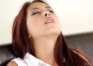 Adorable redhead has her shaved pussy creampied in a soaked pole shoot