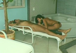Immaculate Latina stunner fucks their way hung stud hardcore in an obstacle bathroom