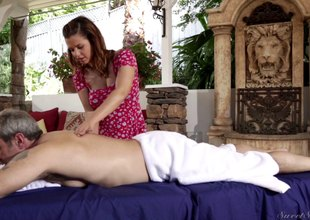 Brunette masseuse gives will not hear of illustrious client special treatment