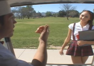 Skinny academy girl to uniform gets enticed buy the back of a van and drilled hardcore