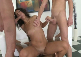 Sexy brunette be thick bimbo Alex C acquires fucked hard by three hot dudes