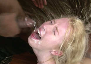 Aroused bitches receive facual cumshots from horny dudes more large knobs
