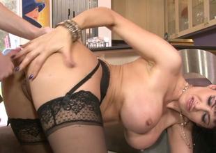 Horny brunette hoe Eva Karera gets her wet fissure banged hard