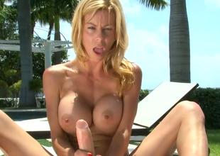 Hot blonde unsubtle Alexis Fawx gives cook jerking under the sun