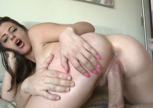 Delightful brunette bitch helter-skelter great tearing gets drilled hard on an obstacle couch