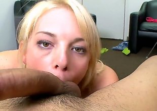 Blonde Missy Mathers with tiny tities wraps her hands around guys rock hard snake