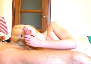 Blonde Alice with tiny boobs and shaved bush is exposed to fire with respect to steamy oral action with hot guy