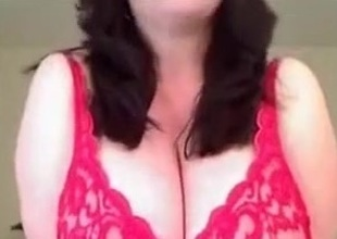 Stunning solo video with me kneading my big on the level tits