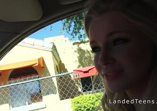 Hawt blonde teen hitchhiker sucks cock