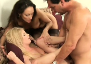 His Facetious ambisextrous wife brings home a cute coed for a sexy trio